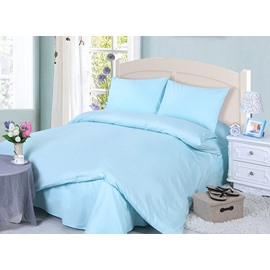 Contracted Solid Color Style 4-Piece Blue Duvet Cover Sets