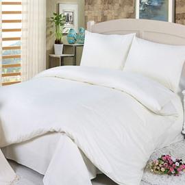 Simple Solid Color Design White 4-Piece Duvet Cover Sets