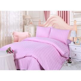 Lovely Pink Stripe Design Solid Color 4-Piece Duvet Cover Sets