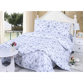 Fresh Pastoral Blue Flowers Print 4-Piece Cotton Duvet Cover Sets