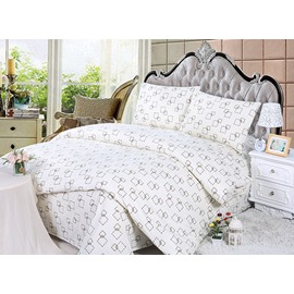 Fashionable Dash Line Checks Print 4-Piece Duvet Cover Sets