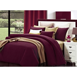 Stylish Reversible Solid Color Cotton 4-Piece Duvet Cover Sets