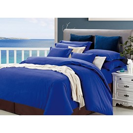 Convenient Hidden Zipper Design Graceful Pure Blue 4-Piece Duvet Cover Sets