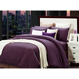 Deluxe Royal Purple Cotton 4-Piece Duvet Cover Sets