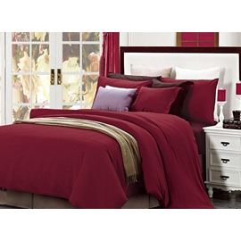 New Style Reversible Pure Color 4-Piece Cotton Duvet Cover Sets