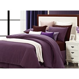 Durable Reversible Solid Color Style Cotton 4-Piece Duvet Cover Sets