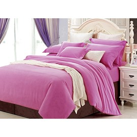 Adorable Pure Pink 100% Cotton 4-Piece Duvet Cover Sets