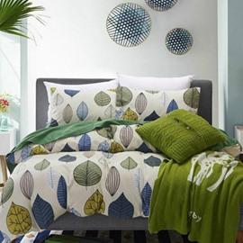 Colorful Leaves Print European Style Cotton 4-Piece Bedding Sets/Duvet Cover