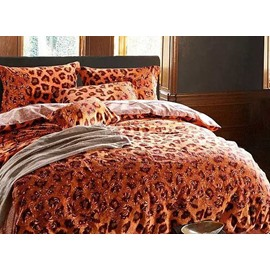 Wild Golden Leopard Print 4-Piece Cotton Duvet Cover Sets