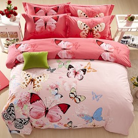 Butterflies Flying with Flowers Pattern Cotton Pink 4-Piece Bedding Sets/Duvet Cover