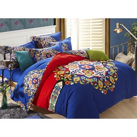 European Big Flowers Design Royal Blue 4-Piece Cotton Duvet Cover Sets