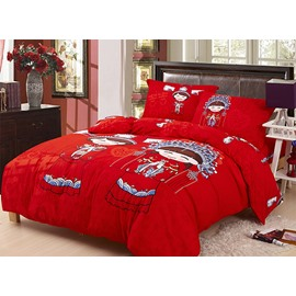 Chinese Traditional Wedding Style Red 4-Piece Duvet Cover Sets
