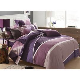 Concise Letter Stripe Print Purple 4-Piece Duvet Cover Sets