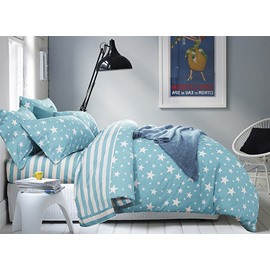 Gorgeous White Stars Print 4-Piece Blue Duvet Cover Sets