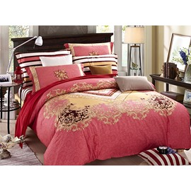 Artistic European Jacquard Red 4-Piece Duvet Cover Sets