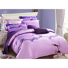 Couple Cat Bowknot Printing 4-Piece Purple Duvet Cover Sets