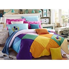 Colorized Plaid Cotton 4-Piece Duvet Cover Sets
