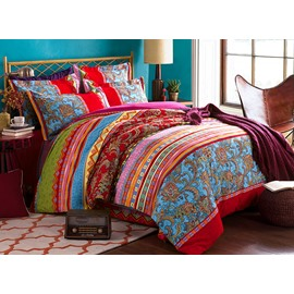 Colorful Stripes and Jacobean Printed Boho Style Cotton Exotic 4-Piece Bedding Sets