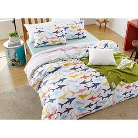 Full Size Cute Cartoon Sharks Print Cotton 4-Piece Bedding Sets/Duvet Cover