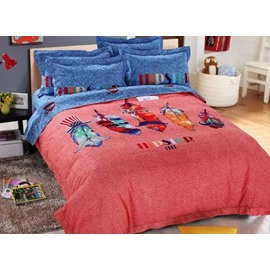 Colorful Feathers Print 4-Piece Cotton Duvet Cover Sets