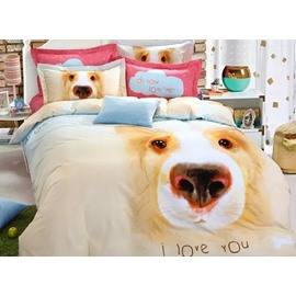 Lovely Cartoon Dog Print 100% Cotton 4-Piece Duvet Cover Sets