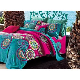 Exotic Floral Jacquard Print 100% Cotton 4-Piece Duvet Cover Sets