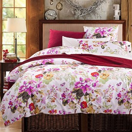 Pretty Rosy Flowers and Butterflies Print Cotton 4-Piece Duvet Cover Sets