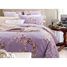 Graceful Pastoral Floral Style Purple 4-Piece Cotton Bedding Sets/Duvet Cover