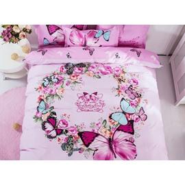 Graceful Pink Garland Print 4-Piece Cotton Duvet Cover Sets