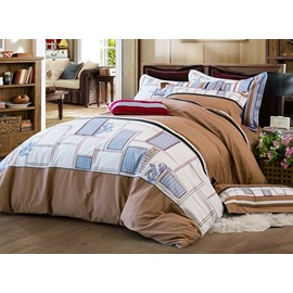 Concise Pure Cotton With Embroidery 4-Piece Duvet Cover Sets