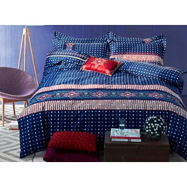 Stripes & Dots Design 100% Cotton 4-Piece Duvet Cover Sets