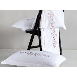 Lovely Purple Flowers Pattern White Cotton 4-Piece Duvet Cover Sets