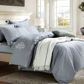 Cozy Luxury Grayish Cotton 4-Piece Duvet Cover Sets