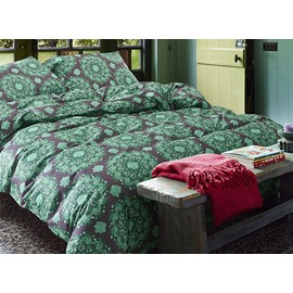 Romantic Pastoral Style Green Cotton 4-Piece Duvet Cover Sets