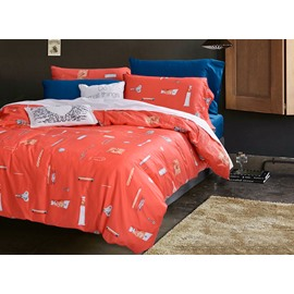 High Quality Neutral Orange Cotton 4-Piece Duvet Cover Sets