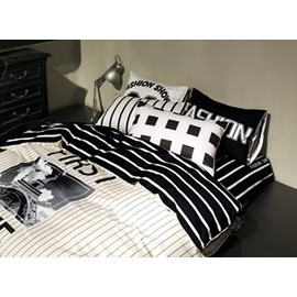 Modern Simple Letter Cotton 4 Pieces Bedding Sets