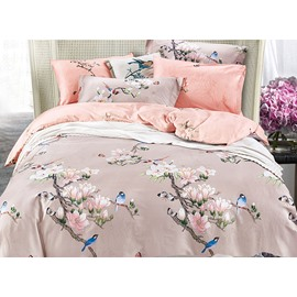 Pastoral Blue Birds on Magnolia Twig Printing Satin 4-Piece Duvet Cover Sets