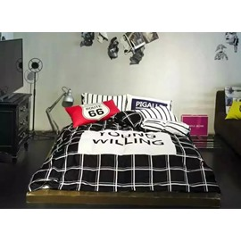 Simple Stripe and Plaid Style 4-Piece Duvet Cover Sets