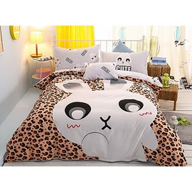 Cute Rabbit Printing 4-Piece Duvet Cover Sets