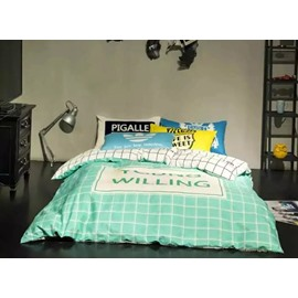 Fresh Plaid Printing 4-Piece Duvet Cover Sets