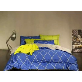 Fashion Grid Printing 4-Piece Duvet Cover Sets