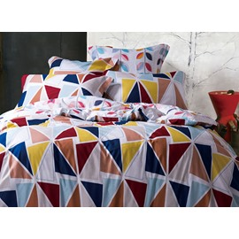 Beautiful Geometric Printing 4-Piece Duvet Cover Sets