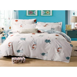 Cute Rabbit Playing With You 4-Piece Bedding Sets