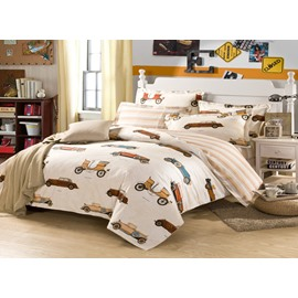 65 multitype cartoon cars modern style cotton 4pieces bedding setsduvet cover