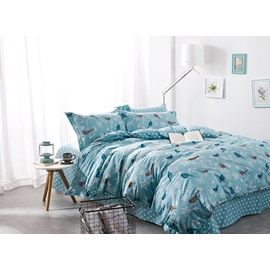 Full Size Cartoon Birds Print Blue Cotton 4-Piece Bedding Sets/Duvet Cover