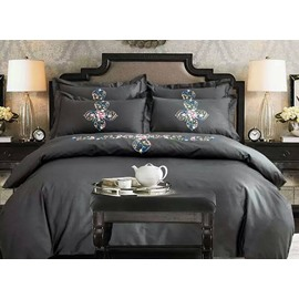 Lovely Flower Rattan Design Gray 4-Piece 100% Cotton Duvet Cover Sets