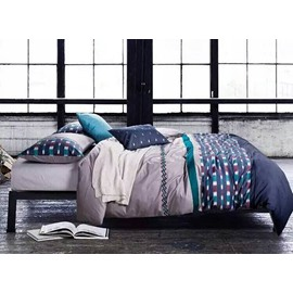 Classic Design Vibrant Line Print Cotton 5-Piece Duvet Cover Sets