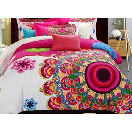 Ethnic Classical Bohemian Flowers Print Boho Mandala Retro Cotton 4-Piece Bedding Sets Duvet Covers with 2 Pillowcases