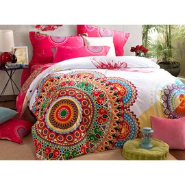 Big Flowers Pattern Top Class Cotton 4-Piece Duvet Cover Sets