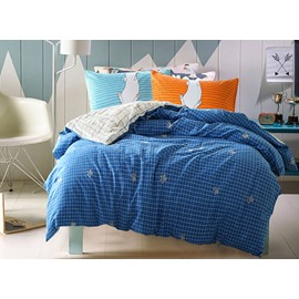 Simple Minimalism Style Stripe Blue 4-Piece Cotton Duvet Cover Sets